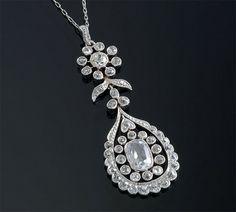 Edwardian Diamond Pendant on Chain