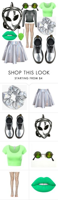 """""""October Nights, Daily Creatures: Alien!"""" by grungey-kin ❤ liked on Polyvore featuring Boohoo, Dr. Martens, Leg Avenue, Lime Crime, Halloween and october"""