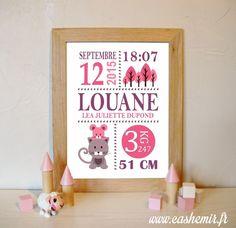 Cadeau naissance, stats de naissance, décoration chambre bébé fille - Fichier Imprimable - n°36 chat souris : Décoration pour enfants par cashemir