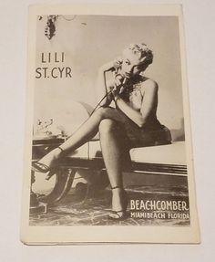 Vtg Beachcomber Hospitality Card Miami Beach Florida   Lili St. CYR  Burlesque