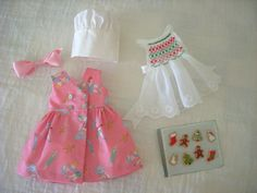 "Holiday Lot SMOCKED APRON and JUMPER for 11"" BLEUETTE by Bursie's Babies 