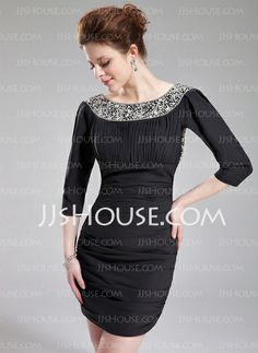 Cocktail Dresses - $135.99 - Sheath Scoop Neck Short/Mini Chiffon Cocktail Dress With Beading (016025927) http://jjshouse.com/Sheath-Scoop-Neck-Short-Mini-Chiffon-Cocktail-Dress-With-Beading-016025927-g25927