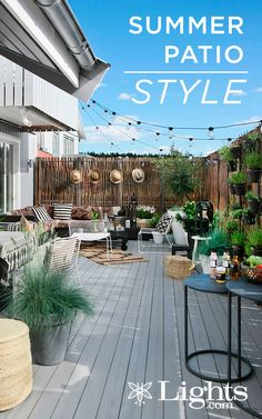 Get the look with vintage string lights. Get the look with vintage string lights. Vintage String Lights, Apartment Balconies, Cafe Style, Backyard, Patio, Outdoor Parties, Get The Look, Memorial Day, Garden Design