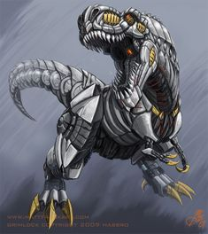 Grimlockasaurus Rex by KaijuSamurai on DeviantArt Grimlock Transformers, Transformers Art, Robot Animal, Character Art, Character Design, Fantasy Dragon, Dinosaur Art, Dinosaur Tattoos, Prehistoric Creatures