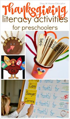 Want to combine preschool literacy with your Thanksgiving preschool theme? The best Thanksgiving literacy activities are right here! From alphabet activities to simple reading. So many fun ideas for your Thanksgiving circle time or preschool centers too! Preschool Centers, Literacy Activities, Preschool Literacy, Alphabet Activities, Fall Preschool, Preschool Printables, Preschool Ideas, Thanksgiving Writing, Thanksgiving Activities For Kids