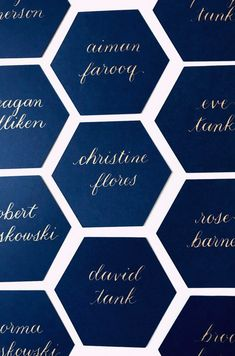 Navy hexagon place card, calligraphy, preppy wedding, New England wedding, classic details Place Card Calligraphy, Wedding Calligraphy, Wedding Seating Display, Name Tag Design, Beautiful Calligraphy, Wedding Welcome Bags, Place Names, Wedding Table Numbers, Name Cards