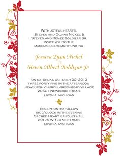 Traditional Fall Wedding Invite Gold Inspired.