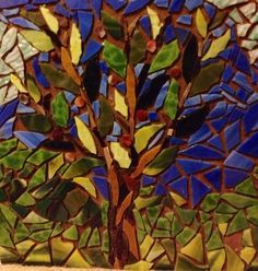 Stained glass mosaic. Stepping stone