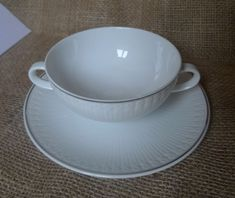 Old Germany Pottery Hutschenreuther Selb White Soup Cream Bowl Cup & Saucer LHS #Hutschenreuther