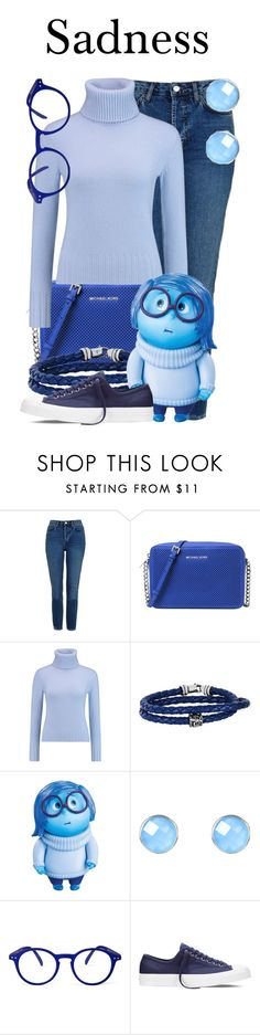 """""""Sadness"""" by megan-vanwinkle ❤ liked on Polyvore featuring Topshop, Michael Kors, N.Peal, Phillip Gavriel, Disney, Latelita, See Concept and Converse"""