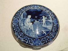 Stunning Large Hallmarked 1932 33 Classical Pictorial Enamel Compact