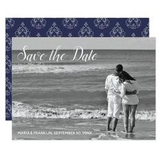 Dark Blue Damask Save the Date Card - invitations custom unique diy personalize occasions