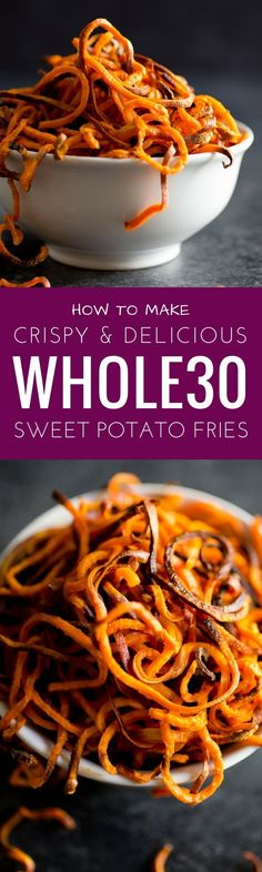 Just use salt to make them AIP compliant. Best Paleo Sweet potato fries. Spiralized sweet potato fries.