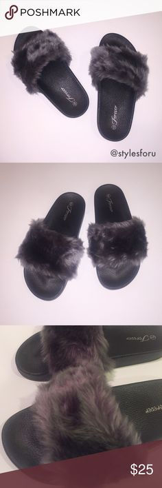 """NWT. Dark grey fuzzy slippers NWT. Dark grey fuzzy slippers. Super soft material and comfort. Non slip bottom. About 1"""" platform. True to size. Sorry, no trades. Forever Shoes Slippers"""