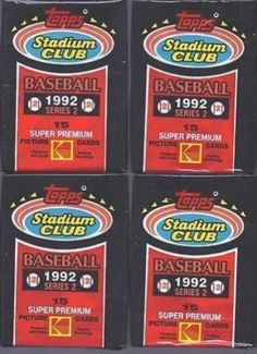 1992 Stadium Club Series 2 Baseball Cards Unopened Packs Lot/4 NEW MINT Vintage