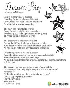 Printable: Dream Big Poem - WeAreTeachers Dream Big printable poem for end-of-the-year celebrations. Poems For Middle School, Poems About School, End Of School Year, Middle School Classroom, Graduation Poems, Kindergarten Graduation, School Leavers, We Are Teachers, Teaching Poetry