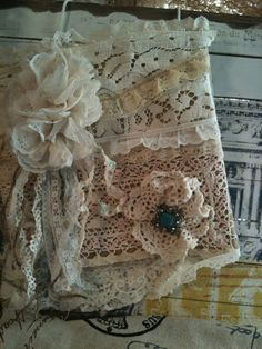 Shabby Chic Tote Bag Turquoise Pin by CraftCottageOnline on Etsy, $55.00