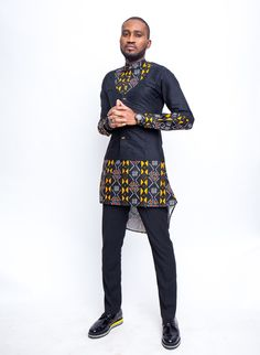 University of Middlesex graduate of Fashion Design, Tessy Oliseh-Amaize has unveiled a new menswear collection tagged 'Scissors'. The Creative Director of - BellaNaija Style. African Shirts For Men, African Dresses Men, African Attire For Men, African Clothing For Men, African Print Fashion, Africa Fashion, African Wear, African Style, Ankara Fashion