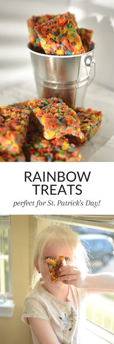 Rainbow Treats Rainbow Treats are a fun, easy to make treat perfect for your St. Healthy Desserts For Kids, Desserts For A Crowd, Homemade Desserts, Breakfast Recipes, Dessert Recipes, Drink Recipes, Yummy Treats, Delicious Desserts, Gluten Free Marshmallows