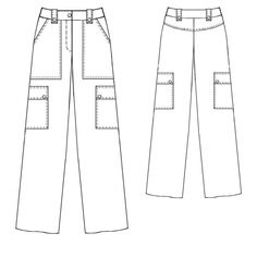 sewing patterns for women, category: pants - pants with large pockets (PDF files and instructions) Coat Pattern Sewing, Pants Pattern, Sewing Patterns, Fashion Sketch Template, Flat Sketches, Jeans Fabric, Patterned Jeans, Cargo Jeans, Fashion Portfolio