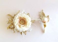 Prom Gold & Ivory Gatsby Wrist Corsage with matching by justanns
