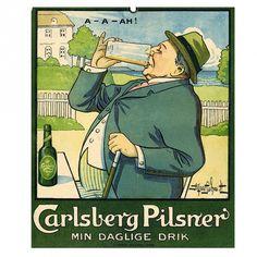 poster carlsberg - realistische reclame van een bierdrinker