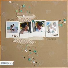 Scrapbook - Wedding Layout in Savanne und Bermudablau, Jade, Pistazie und Flüsterweiß
