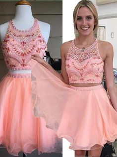 Two Piece A-line Halter Knee-Length Chiffon Beaded Backless Pink Party…