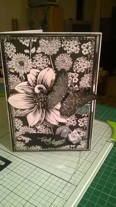 black and white birthday card