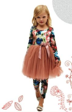 Designer Kidz Indiana Floral Tutu - Coffee - $44.95 - Your little girl will adore twirling away in this gorgeous Indiana floral bodice tutu by Melbourne designer brand Designer Kidz!  Beautiful long sleeve little girls party dress features cotton spandex bodice with delicate floral print, purple tulle skirt and satin tie at waist!  The perfect dress to take any stylish little lady from garden tea parties to a family wedding! #littlebooteek #girls #fashion #partydress #designerkidz