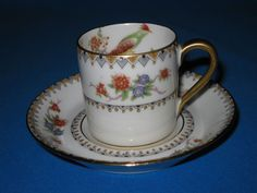 1900-1914  LIMOGES France Multi-Floral Bird of Paradise Demitasse Cup and Saucer