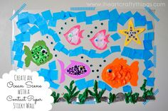 Head over to Brassy Apple today where I'm sharing this fun summertime craft…An ocean scene made out of a contact paper sticky wall. The kids (and maybe even you too) are sure to enjoy it! Follow I Heart Crafty Things on Facebook, Pinterest,  Google+, Twitter, and Instagram! You might also like:Handprint Apple TreePaper Plate Elephant Puppet CraftHandprint Apple Tree …