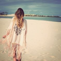 Boho chic fringe swimsuit cover up, modern hippie beach grunge style. For MORE Bohemian fashion trends FOLLOW http://www.pinterest.com/happygolicky/the-best-boho-chic-fashion-bohemian-jewelry-gypsy-/