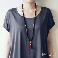 Dark lotus seed 108 bead mala red tassel necklace by tellurus