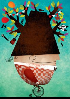 Tree man illustration by fatinha ramos directory of illustra Casino Decorations, Behance, Communication Art, Bicycle Art, Gcse Art, Freelance Illustrator, Art And Illustration, Surreal Art, Color Pallets