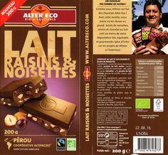 tablette de chocolat lait gourmand alter eco pérou lait raisins et noisettes