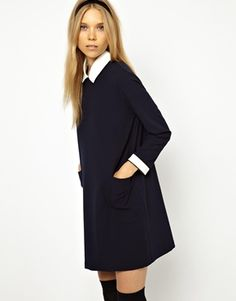 adorable school girl inspired dress for fall.Little White Lies Shift Dress with Contrast Collar and Cuffs Daily Fashion, Fashion Online, Fashion Beauty, Contrast Collar, Little White, Collar And Cuff, Spring Outfits, Spring Clothes, Dresses For Work