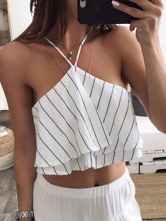 White Striped Condole Belt Draped V-neck Slim Vest Women's Summer Fashion, Look Fashion, Fashion Outfits, Womens Fashion, Summer Outfits, Casual Outfits, Cute Outfits, Style Olivia Palermo, Casual Chic