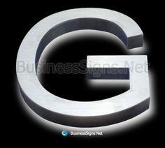LED Backlit Business Signs With Brushed Stainless Steel Letter Shell Backlit Signs, Business Signs, Brushed Stainless Steel, Side View, Signage, Shell, Surface, Led, Lettering