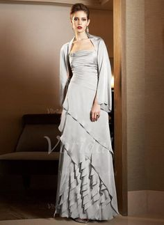 Mother of the Bride Dresses - $176.59 - A-Line/Princess Strapless Floor-Length Satin Chiffon Mother of the Bride Dress With Ruffle (00805006947)