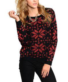 Loving this Black & Red Snowflake Sweater - Women on #zulily! #zulilyfinds