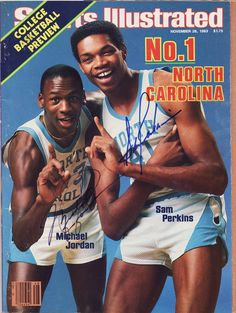 1983 Sports Illustrated - College Basketball Preview - Autographed by Michael Jordan and Sam Perkins
