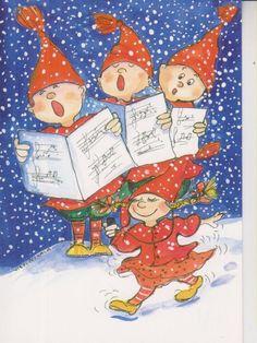 Postcrossing postcard from Finland Christmas Wood Crafts, Noel Christmas, Christmas Clipart, Christmas Colors, Bengali Art, Christmas Illustration, Whimsical Art, Vintage Children, Illustrations
