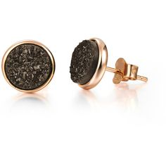 h.azeem London Rose Gold Elara's Coffee Stud Earrings ($94) ❤ liked on Polyvore featuring jewelry, earrings, flat stud earrings, rose gold stud earrings, studded jewelry, drusy jewelry and geometric earrings