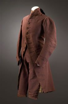 Brown silk jacket and breeches, English, 1775-1780.