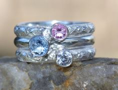 """Birthstone Stacking Ring 3 Family & Mother's by sherisdesigns, $140.00. Not a big fan of """"mother's rings"""", but this one is pretty"""