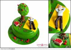 Wiśnie, czereśnie, zbieranie czereśni, zbieranie wiśni, sad, ogród, owoce, tort dla ogrodnika, tort z drzewem, drzewo, torty urodzinowe, śmieszne torty, Tarnów