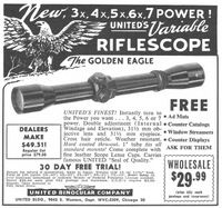 United Golden Eagle Riflescope 1958 Ad Picture