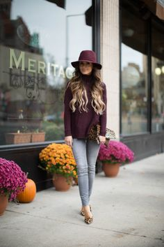 OCTOBER 29TH, 2015 BY MARIA Fall Colors - LOFT Burgundy Turtleneck // Zara Gray Jeans // Burgundy Hat // Kurt Geiger Leopard Heels // Clare V Leopard Clutch