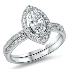 Sterling Silver Wedding set size 5 CZ Engagement ring Solitaire Bridal New 925 #Unbranded